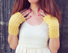 Knit Gloves Handmade Knitted Fingerless Gloves Womens Yellow Arm Warmers Ladies