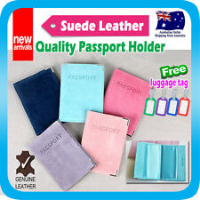 Passport Holder Travel Wallet Suede Leather Cover Case Protector Pouch +Tag
