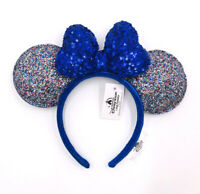 Disney Parks 2020 Celebration Blue Sparkle Bow Minnie Ears New Years Headband