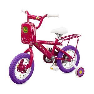 "RETURNED Tomy John Deere Heavy Duty 16"" Girl's Bicycle Hot Pink"