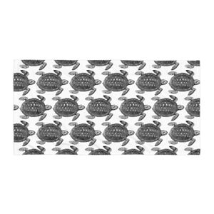 Turtle Bath or Beach Towel Black and White
