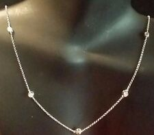 "14k White Gold Diamond by The Yard Alternated 9 Diamonds10 Stations 16"" Chain"