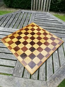 LARGE VINTAGE INLAID WOODEN CHESS BOARD 450mm sq Oak, Zebrawood and Satinwood