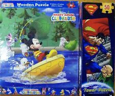 Puzzle Game Lot! Tangram/50 Piece Superman Tower Puzzle/25 Pc Wooden Puzzle New