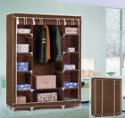 Large Space Storage Portable Bedroom Double Wardrobe Stable Easy Assemble Brown