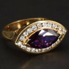 Zirconia Pointed Gold Ring Size 9 - 9g Sterling Silver - Purple & White Cz Cubic