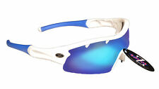 RayZor Uv400 White Vented 1 Piece Blue Mirrored Lens Archery Sunglasses RRP£49