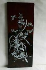 Ancien panneau de bois laqué et incrustations de nacre papillons et orchidées