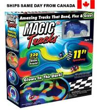 Magic Tracks 220 Pcs Flexible Glow in The Dark Track 1 LED Car