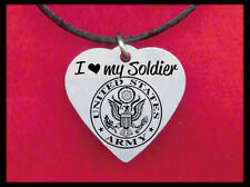 I Love my Soldier Heart Necklace, Personalized FREE with his name! Army