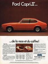PUBLICITE ADVERTISING 104  1974  FORD CAPRI 1300 II   de la race & du coffre