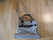 ABRO stylische Tasche mit kleinem Schloss Canvas Leder grau TOP BI216