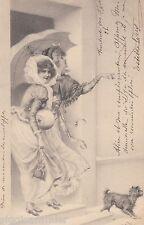 M.M. Vienne AK 1898 Zwei junge Damen Regenschirm Hund von Wichera  1601055