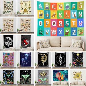Animal Alphabet Tapestry Boho Flower Snake Moth Wall Hanging Bedspread Cover