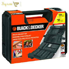 Black Decker 129 pc Mechanics Tool Set Bits Wrenches Sockets Auto Tools Box