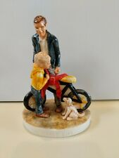 """Vintage Sebastian Miniatures """"The First Bike"""" Dad/Man With Son/Boy and Dog"""