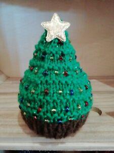 Hand Knitted Beaded Christmas Tree Chocolate Orange Cover