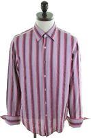 DKNY Mens Shirt Large Purple Striped Cotton  II21