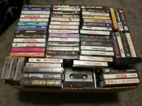 LOT OF 193 VINTAGE ROCK METAL POP 1980s 1990s CASSETTE TAPES WITH INSERT ART