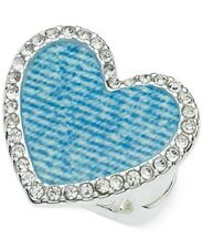 Guess Silver-Tone Pave Blue Denim Heart Stretch Ring Fashion Jewelry