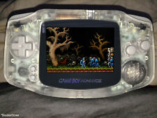 backlit ags101 nintendo game boy advance system clear white modded brighter lcd