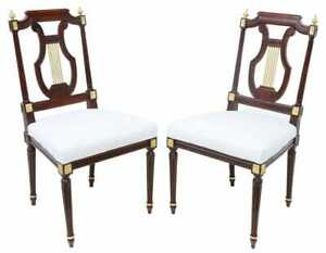 Chairs, Side French Louis XVI Style Lyre-Back, Two, White Upholstered Seat!