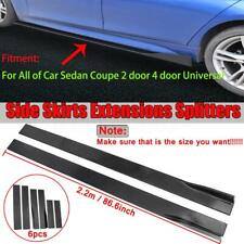 2.2M CAR SIDE SKIRT EXTENSION BLADES GLOSS BLACK UNIVERSAL FOR BMW AUDI VW FORD