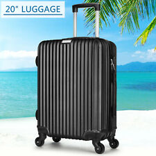 "Black 4 Wheels Spinner Lightweight 20"" ABS Luggage Light  Hard Shell Suitcase"