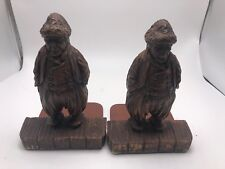 Pair of Old Wood Carved Sea Captain Book Ends