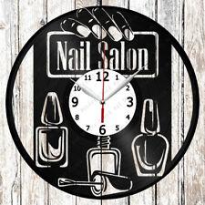 Nail Salon Vinyl Wall Clock Made Of Vinyl Record Original gift 2044