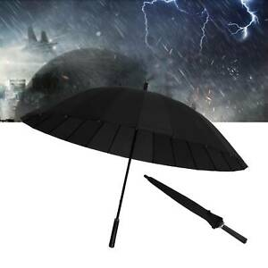 Super Windproof Men Ladies Extra Large Solid Umbrella w/ 24 Steel Ribs Black