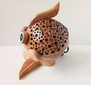 Coconut Shell Wood Table Lamp Bedside Desk Lamp Home Decor Gift Fish