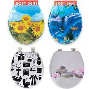 Novelty Padded Toilet Seat Strong Hinges Superior Quality Printed Soft Pictures