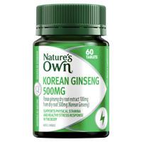Nature's Own Korean Ginseng 500mg 60 Tablets Healthy Stress Response Natures