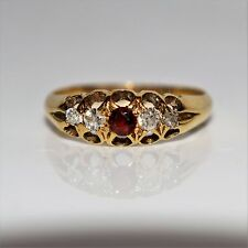 Victorian 1898 Garnet Diamond 18ct Yellow Gold Ring Size H 1/2 ~ US 4 1/4