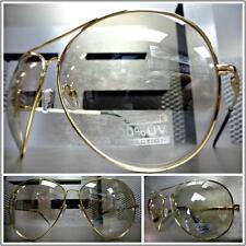 OVERSIZED VINTAGE AVIATORS Style SUN GLASSES Gold Frame Clear Lens Slight Tint