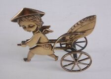 Vintage Antique Brass Child Angel Pulling Cart - UNIQUE Christian Home Decor