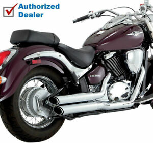 Vance & Hines Chrome Twin Slash Staggered Exhaust 2001-2009 Suzuki Boulevard C50