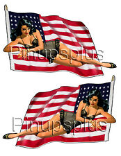 Mirrored Pinup Waterslide Decal Pre WWII American Flag Nose Bomber Art #307
