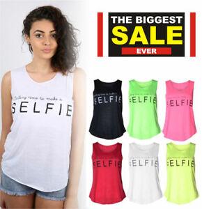 Women Ladies Selfie Slogan Print Vest Trendy Summer Tank  Shirt Fashion Top