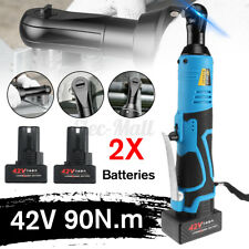 42V 90N.m 3/8'' Cordless Electric Ratchet Wrench Tool 2 Batteries & Charger