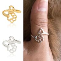 Fashion Silver Gold Dog Footprint /Heart Ring Paw Puppy Adjustable Ring Jewelry