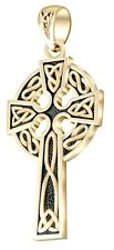 "New 1.625"" Mens 14k Yellow Gold Irish Celtic Knot Cross Antique Pendant"