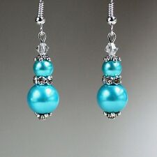 Turquoise blue pearl crystal vintage silver drop earring wedding bridesmaid gift