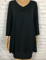 NWT Eileen Fisher Top Tunic Shirt Black Ruched Chest V Neck 3/4 Sleeve Women's M