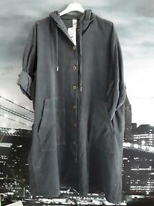 ITALY Damen Oversize Tunika Kleid Long Hemd EG  50/52 Neu Feincord dunkel grau