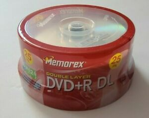 Memorex Double Layer DVD+R DL 25 Pack 8.5 GB 240 Min 2.4x Blank DVDs New