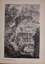Antiguo Piranesi de impresión de 100 años de edad de vistas de Roma sepulture ruinas