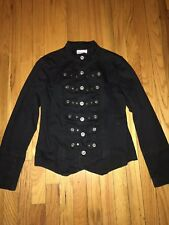 Romeo & Juliet Couture Black Military Soldier Jacket Blazer Silver Studs Buttons