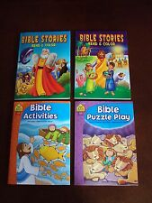 New Lot Of 4 Bible Stories, Coloring & Activity Books ~ Girl/Boys Sunday School
